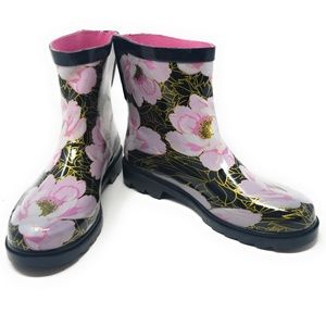 Women's Rubber Ankle Rain Boots, #3159, Rose Gold